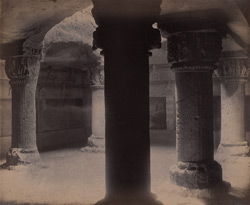 Interior of the rock-cut hall in the Uparkot or Citadel, Junagadh